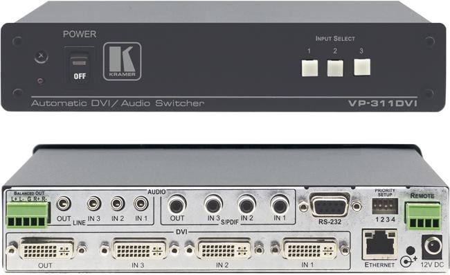 Kramer vp 311dvi 3x1 hdcp compliant dvi stereo s pdif for Porta s pdif